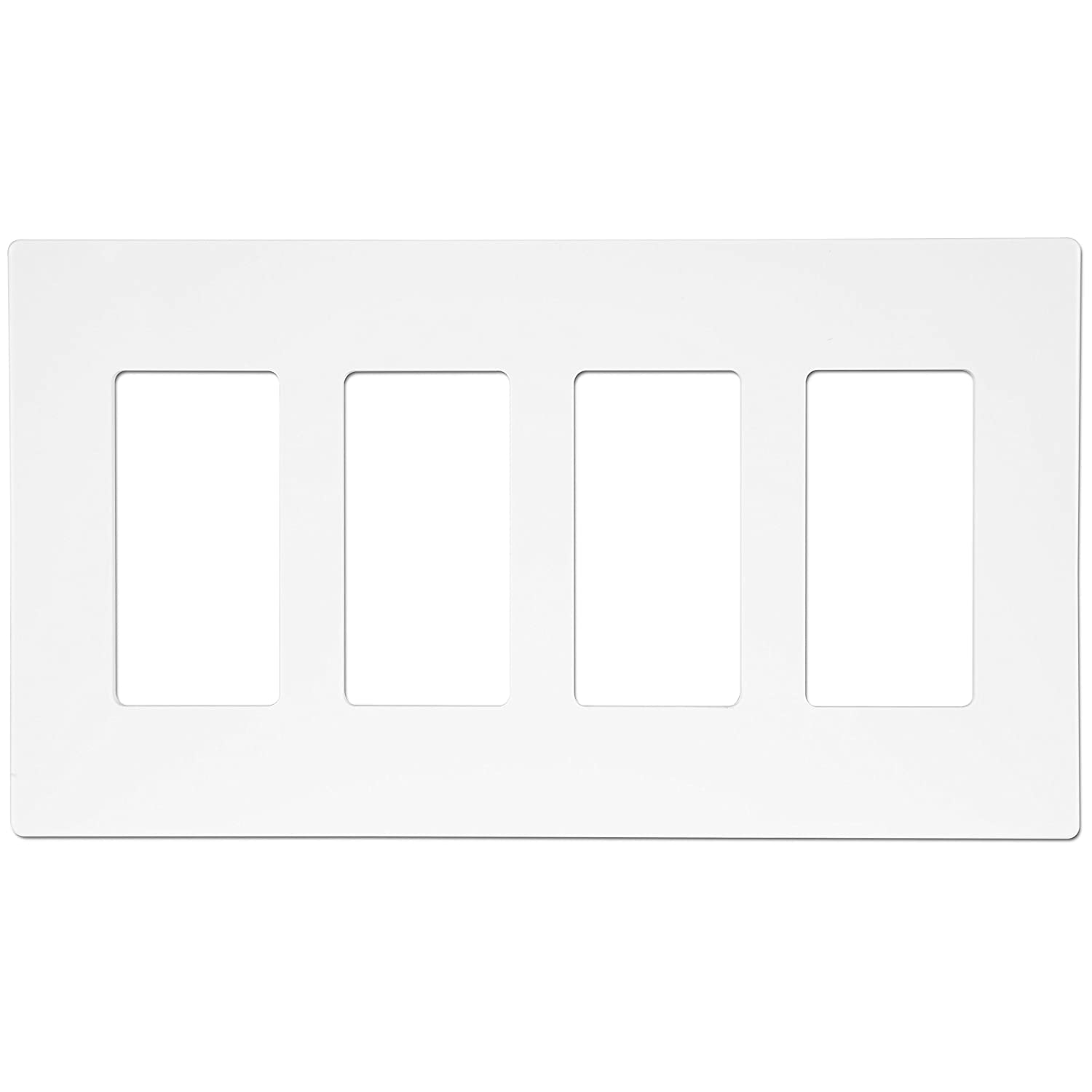 "ENERLITES Screwless Decorator Wall Plates Child Safe Outlet Covers, Size 4-Gang 4.68"" H x 8.30"" L, Unbreakable Polycarbonate Thermoplastic, SI8834-W, White"