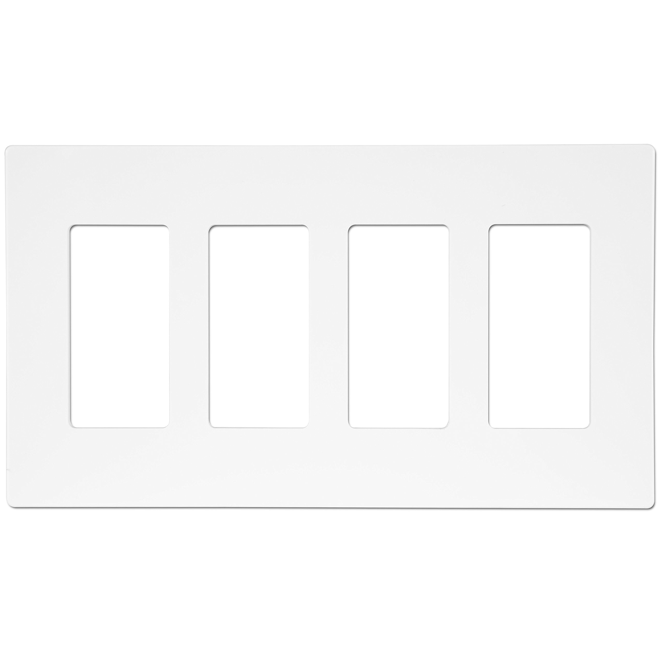 Enerlites SI8834-W Screw-less Decorator Switch Wall Plate by Child Safe Cover Plate, 4-Gang Standard Size, Unbreakable PC Material, White
