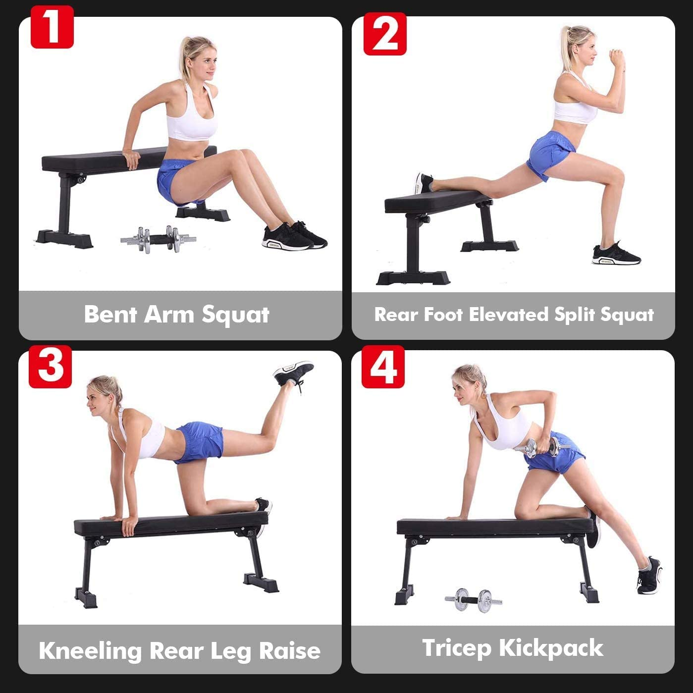 BangTong & Li Flat Weight Bench Utility Workout Exercise Training Equipment for Fitness