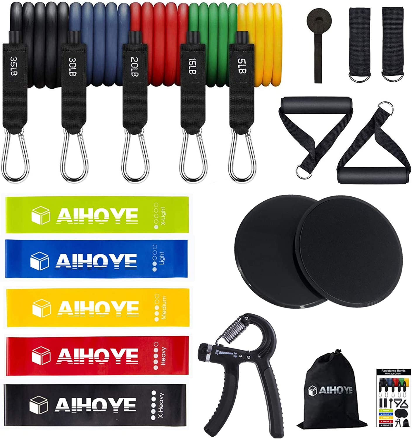 Easy to Use Resistance Bands Set Works Great Aiooy Resistance Loop Bands Resistance Exercise Bands for Home Fitness Very Durable Elastic Latex Perfect Exercise for Your Home Gym