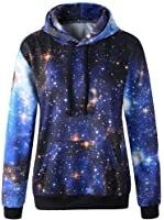Imilan Women Sports Neon Galaxy Pullover Fleece Hoodie Sweatshirts