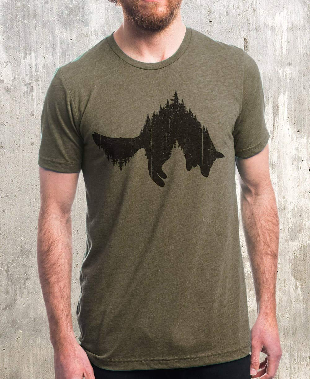 Graphic Tee - Fox and Forest - Screen Printed Nature Themed Men's/Unisex T-Shirt | Tri-Olive