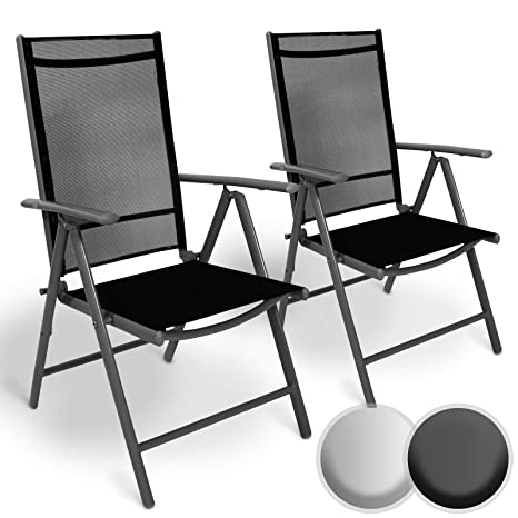 Juego de Aluminio Sillas de Jardín - Plegable, con Reposabrazos, Respaldo Ajustable - Silla para Exterior Balcón Camping Festival (Juego de 2, Gris ...
