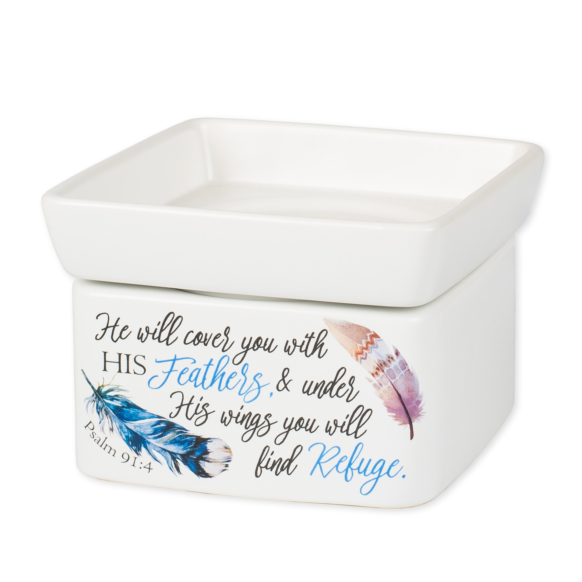 Elanze Designs Refuge Under His Wings Feathers Psalm 91:4 Stoneware Electric 2 in 1 Jar Candle and Wax Tart Oil Warmer
