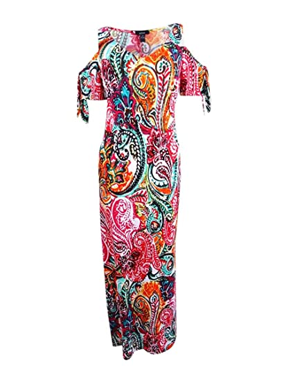 b07620ded38 Image Unavailable. Image not available for. Color  MSK Women s  Cold-Shoulder Paisley Print Maxi Dress ...