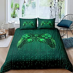 Erosebridal Gaming Duvet Cover Twin Size,Video Games Bedding Set Gamer Comforter Cover,Abstract Geometry Gamepad Quilt Cover for Kids Boys Teens Youth Man,Fashion Science Home Room Decor,Green