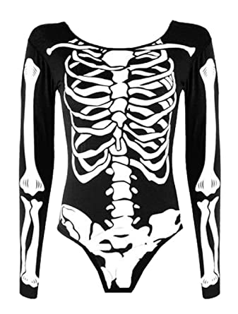 Women Ladies Sleeveless Bodycon Halloween Skeleton Skull Bone Print Jumpsuit