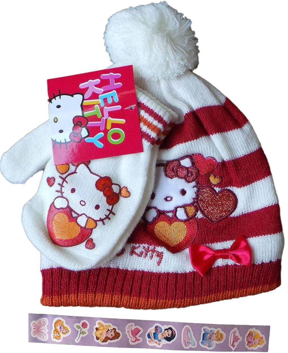 Sanrio Hello Kitty Baby/Kleinkinder Winterset mit Disney Princess Aufklebern - Glitzer mit Kitty - Mütze und Handschuhe - 10 Aufkleber - MLS Kids Bundle - Rot/Weiß/Mehrfarbig