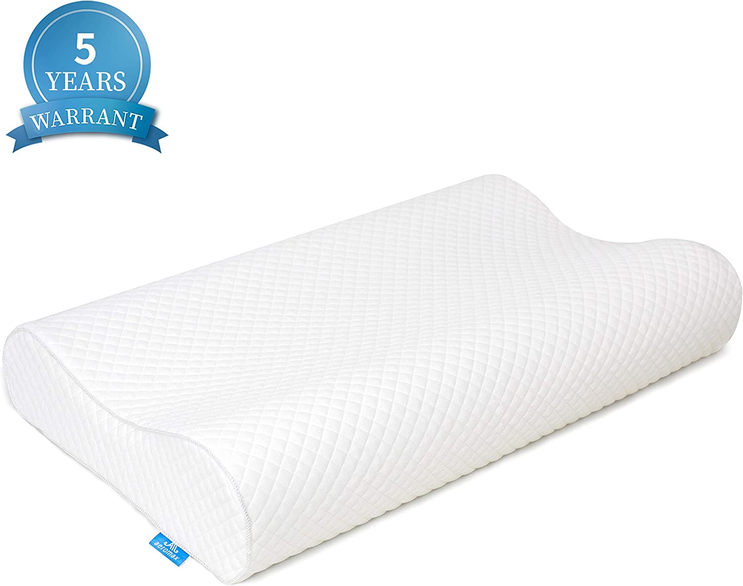 AM AEROMAX Queen Contour Memory Foam Pillow, Orthopedic Sleeping Pillows, Cervical Pillow with Washable Pillowcase for Side, Back and Stomach Sleepers(Soft & White)