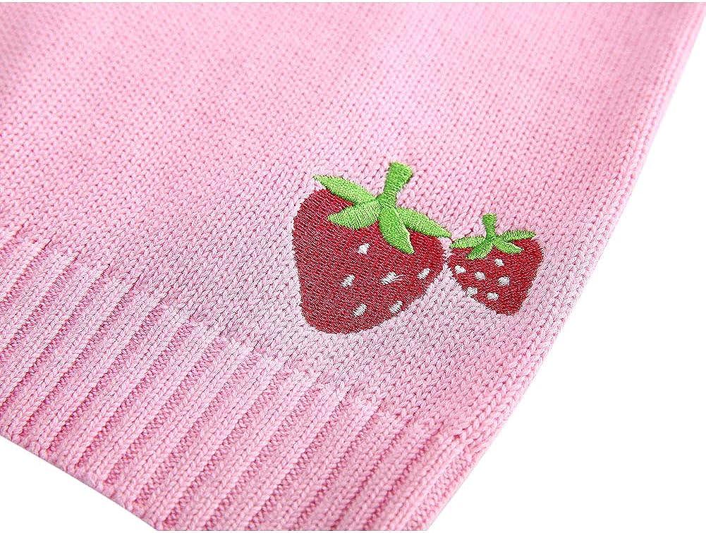 AIWUHE Baby M/ädchen Strickpullover s/ü/ße Erdbeere Muster gestrickt Pullover Langarm Rundhals Sweater
