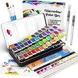 Watercolor Paint Set, Emooqi 42 Premium Colors + 6 Metallic Colors Pigment+ 2 Hook Line Pen+ 3 Water Brushes +10 Sheets…