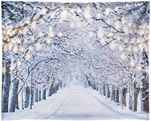 Funnytree 10x8FT Durable Fabric Glitter Winter Forest Photography Backdrop Sparkle Snow Natural Scenery Landscape Tree Path Party Banner Photo Backgound Decor Photo Booth