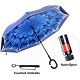 Travel Ease Inverted Umbrella with Light Reflection Strip