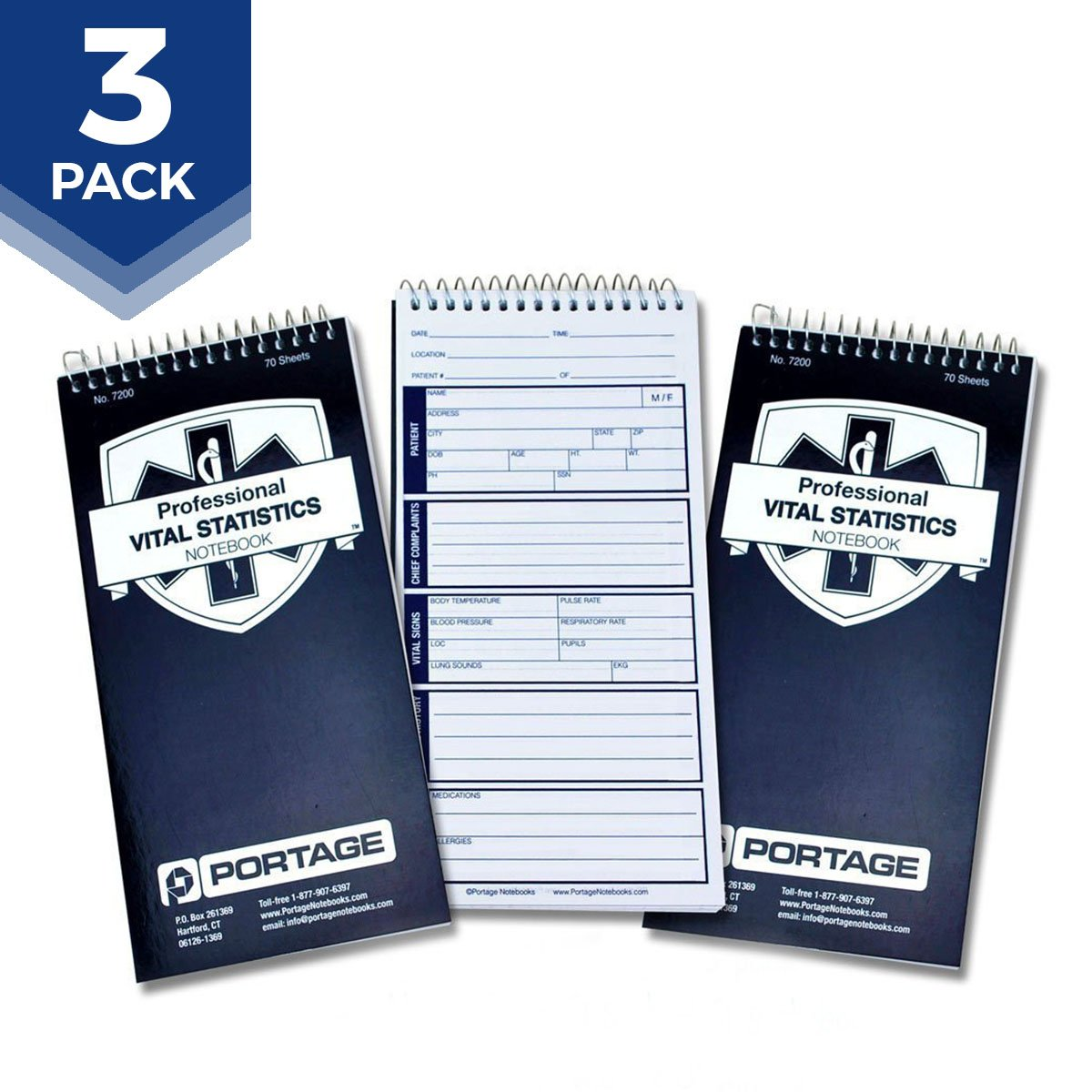 """EMT/First Responders Vital Statistics Notebook - 8"""" x 4"""" Medical Notebook for Vital Signs and Additional Patient Information - 210 Pages"""