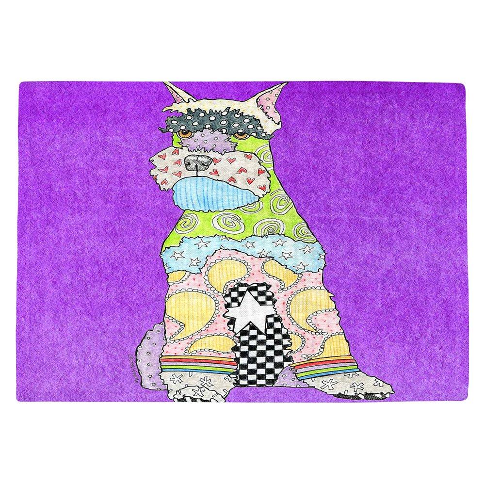 DIANOCHEキッチンPlaceマットby Marley Ungaro Schnauzer Dogパープル Set of 4 Placemats PM-MarleyUngaroSchnauzerPurple2 Set of 4 Placemats  B01EXSIFO2