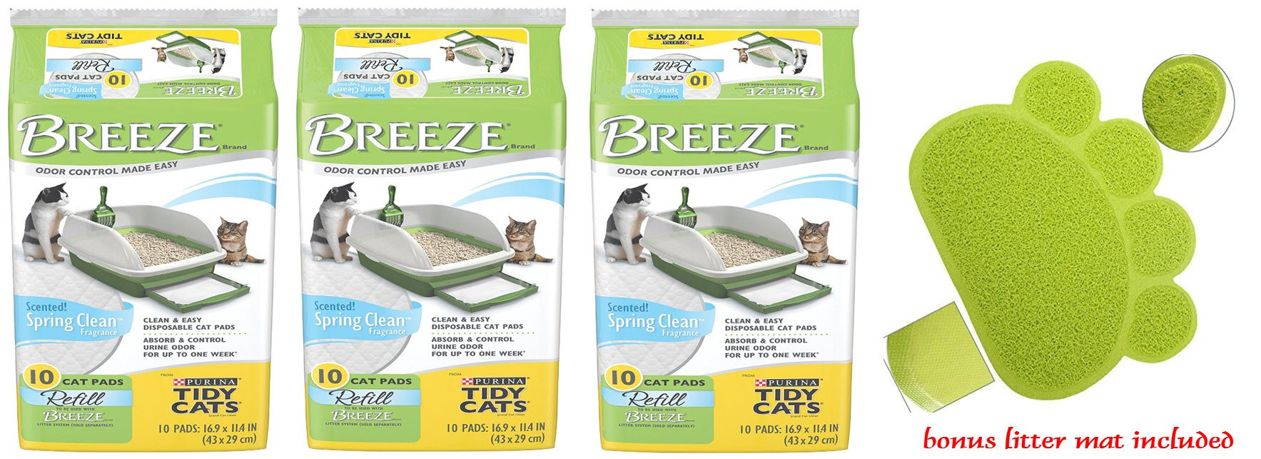 Tidy Cat Breeze Refill Pads Spring Clean Scent 10pk (3-Pack Bundle) by Tidy Cats (Image #1)