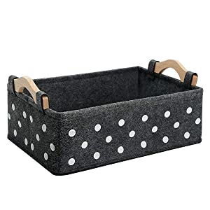 Small Storage Bins Baskets for Organizing Books Magazines Makeups Medicine Storage Cubes for Living Room Bedroom Home Decor Closet Grey Basket