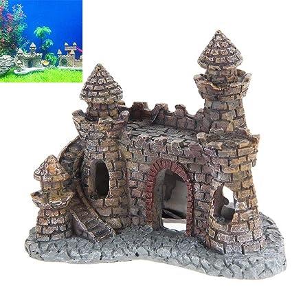 Sedensy Adorno de Acuario, decoración Vintage de Castillo imitación pecera Acuario Accesorios decoración