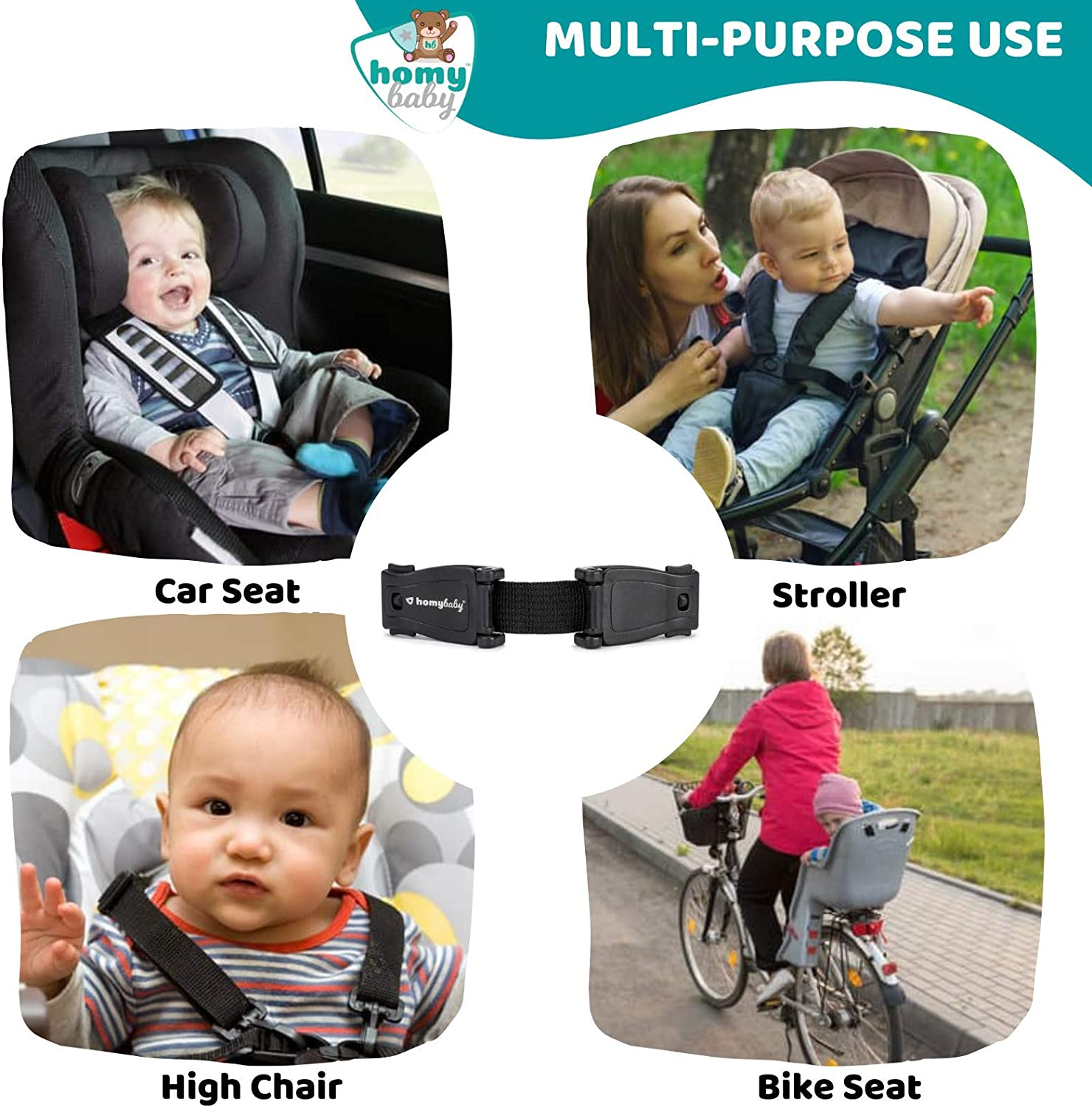 Prevent Children Taking Their Arms Out of The Straps HOMYBABY Car Seat Safety Clip Seat Belt Clip 2-pack Harness Chest Clip Anti Escape Car Seat Strap