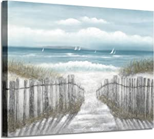 Abstract Beach Picture Wall Art: Seascape Artwork Seaside Path Canvas Painting for Living Room (36