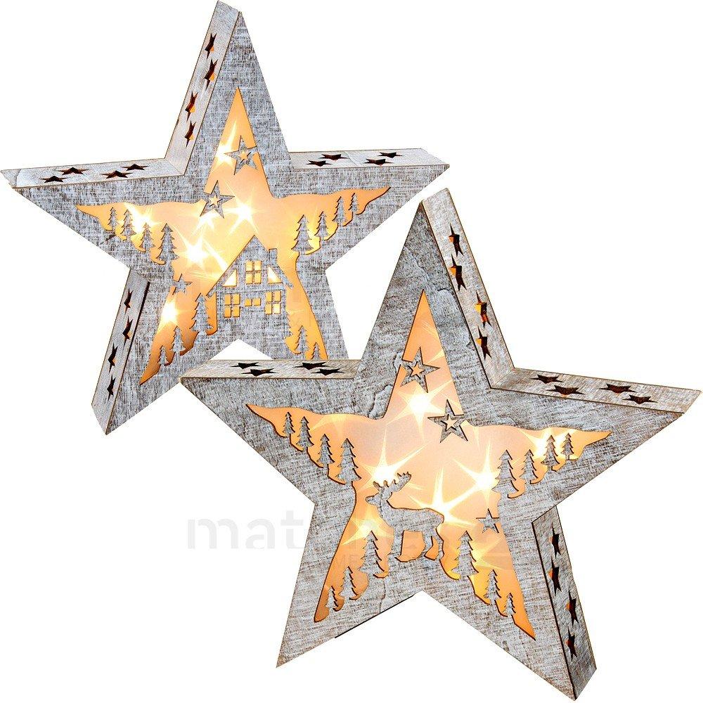 Matches21 Großer weihnachtlicher Stern Holz Weihnachtsdeko mit Motiv Haus Elch 1 STK. mit LED Beleuchtung 38x7x38 cm