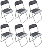 Harbour Housewares Cool Grey/White Padded, Folding, Desk Chair - Pack of 6…