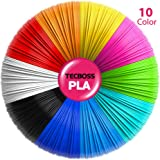 3D Pen Filament, Tecboss 1.75mm PLA Filament Refills Pack of 10 Colors, 16.4 Feet Per Color, Free E-stencils