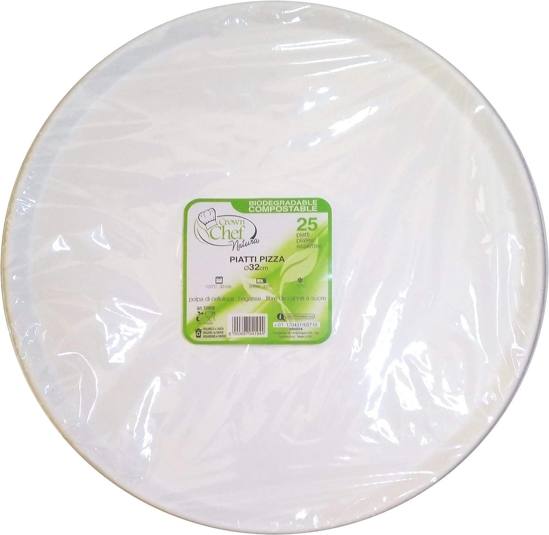 Piatti Piani pz.25 Bianco /Ø cm.19 Biodegradabili