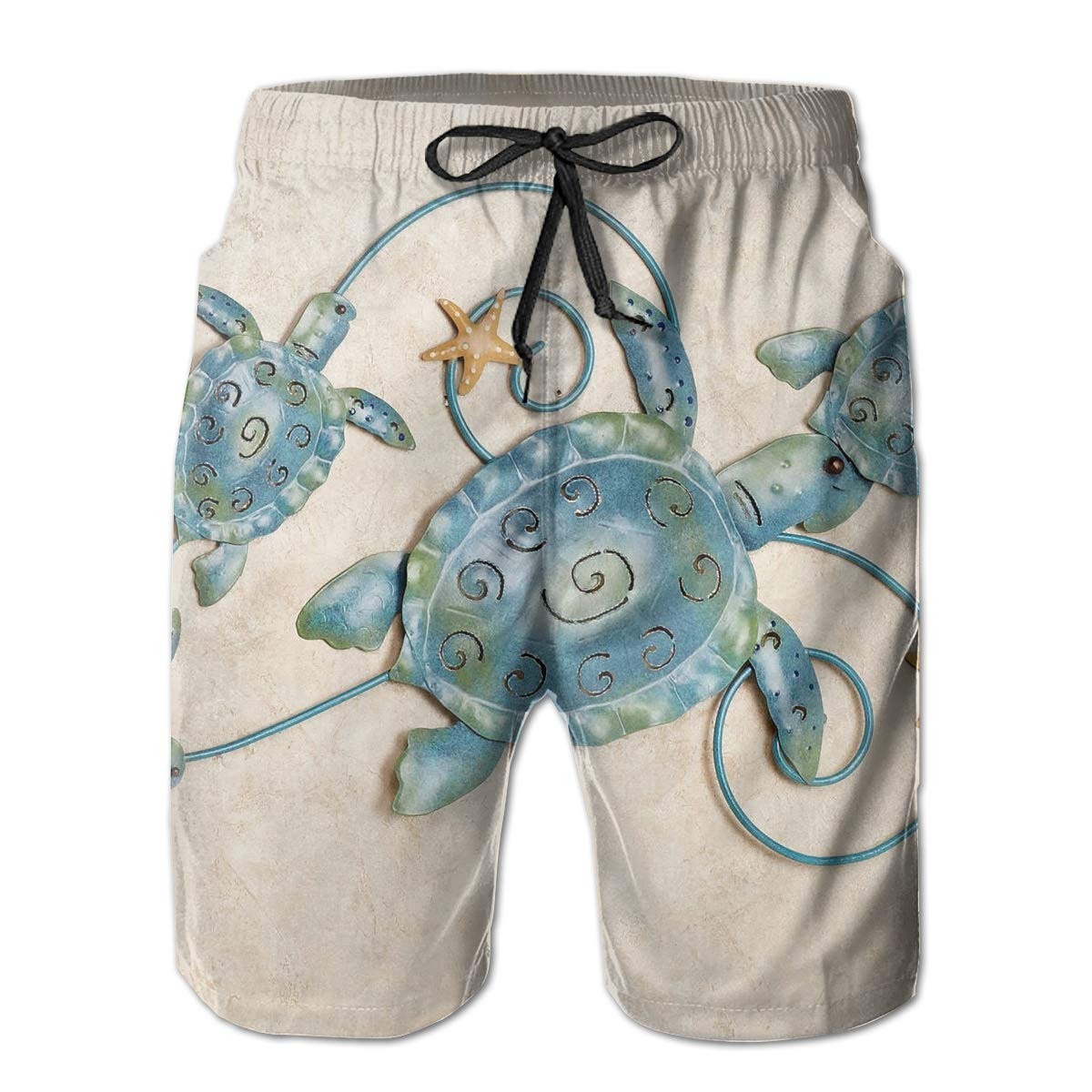 Sea Turtle Metal Regarding Ocean Friends Sea Turtle Mens Swim Trunks Board Beachwear Casual Beach Shorts for Men