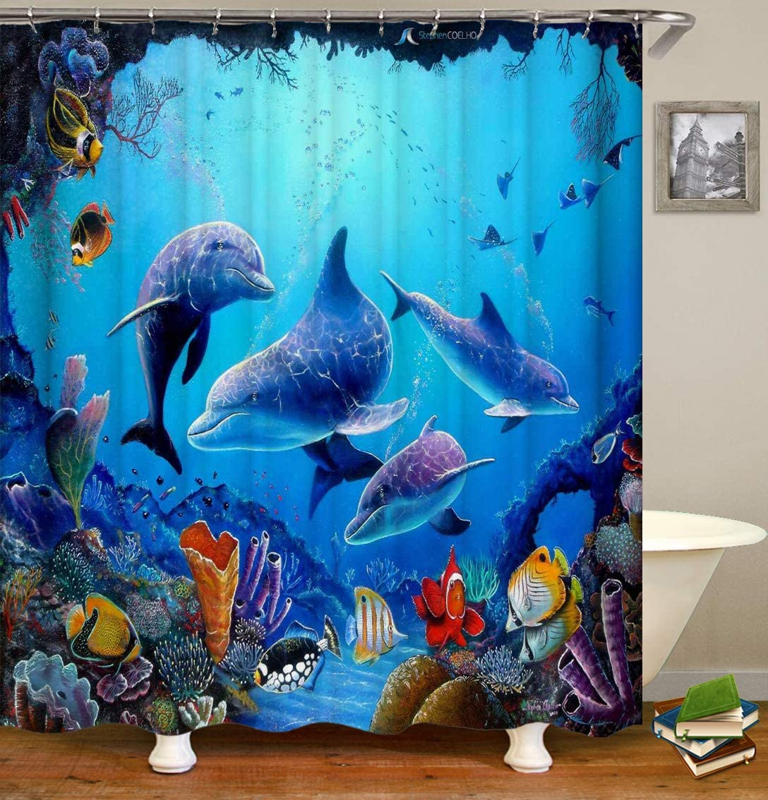 Shocur Dolphin Shower Curtain, Blue Underwater World Happy Marine Life Tropical Fish Algae Coral Reef, 72 x 72 Inches Kids Ocean Theme Bath Curtain, Polyester Fabric Bathroom Decor Set with 12 Hooks