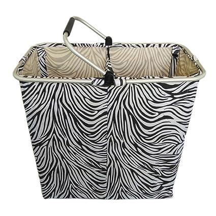 Wkkie 2 Compartimientos Oxford Cesta de ropa Carro Con Con estilo Patrón zebra, Plegable Ropa