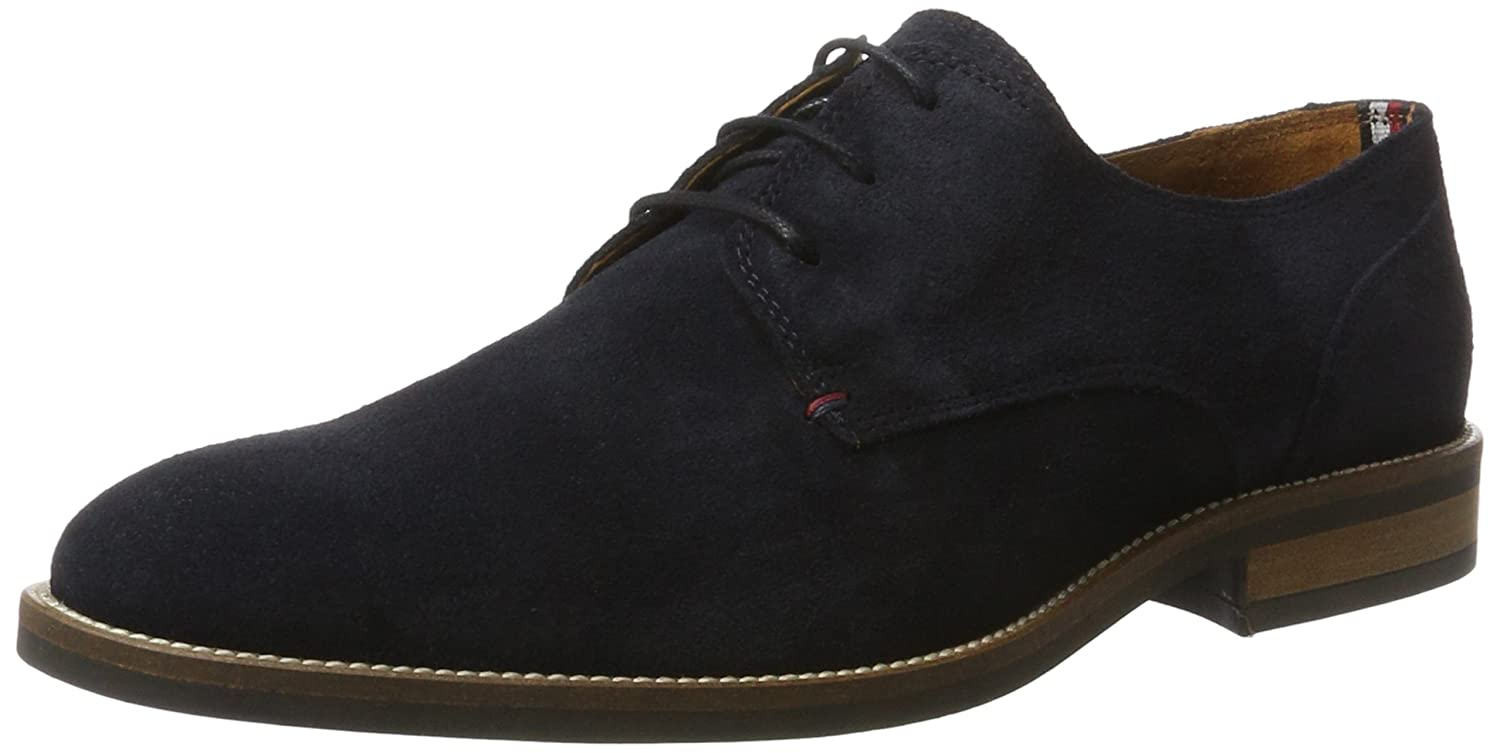 Tommy Hilfiger Essential Suede Lace Up Derby, Zapatos de Cordones Hombre, Azul (Midnight), EU
