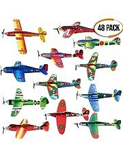 48 Avions en Papier / Polystyrène - Planeurs en 12 Motifs Différents - Parfait pour les Pochettes-Surprise, Cadeaux aux Invités, Récompense à l'École, Jouets Avions Styrol pour Pinata, Etc