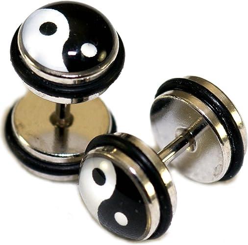 Black Stainless Surgical Steel fake plug print yin yang 8mm