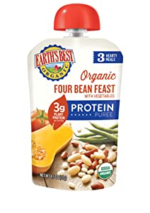 Earth's Best Organic Protein Toddler Snacks, Four Bean Feast with Vegetables, 4.5 Oz (Pack of 12)