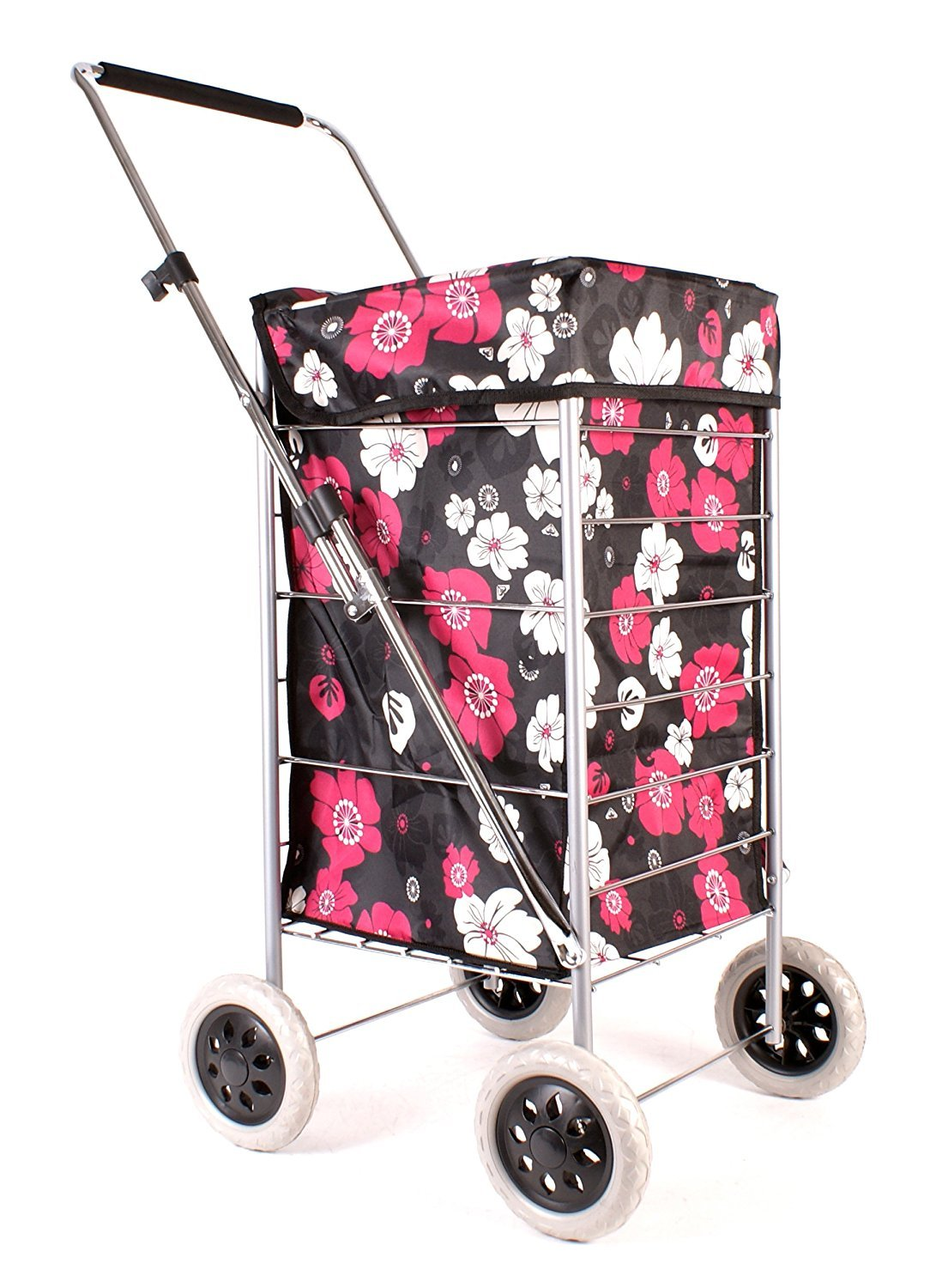 1e7fa3377b Premium 4 Wheel Shopping Trolley with Adjustable Handle Black with Pink and  White Floral Print  Amazon.co.uk  Luggage