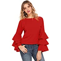 SheIn Women's Round Neck Ruffle Long Sleeve Blouse