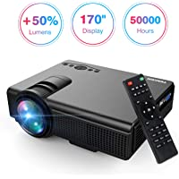 """Projector, Upgraded Lumens TENKER Mini Projector With 170"""" Display LED Full HD Video Projector, Compatible With 1080P HDMI, Fire TV Stick, VGA, USB, AV for Home Theater Entertainment, Party and Games"""
