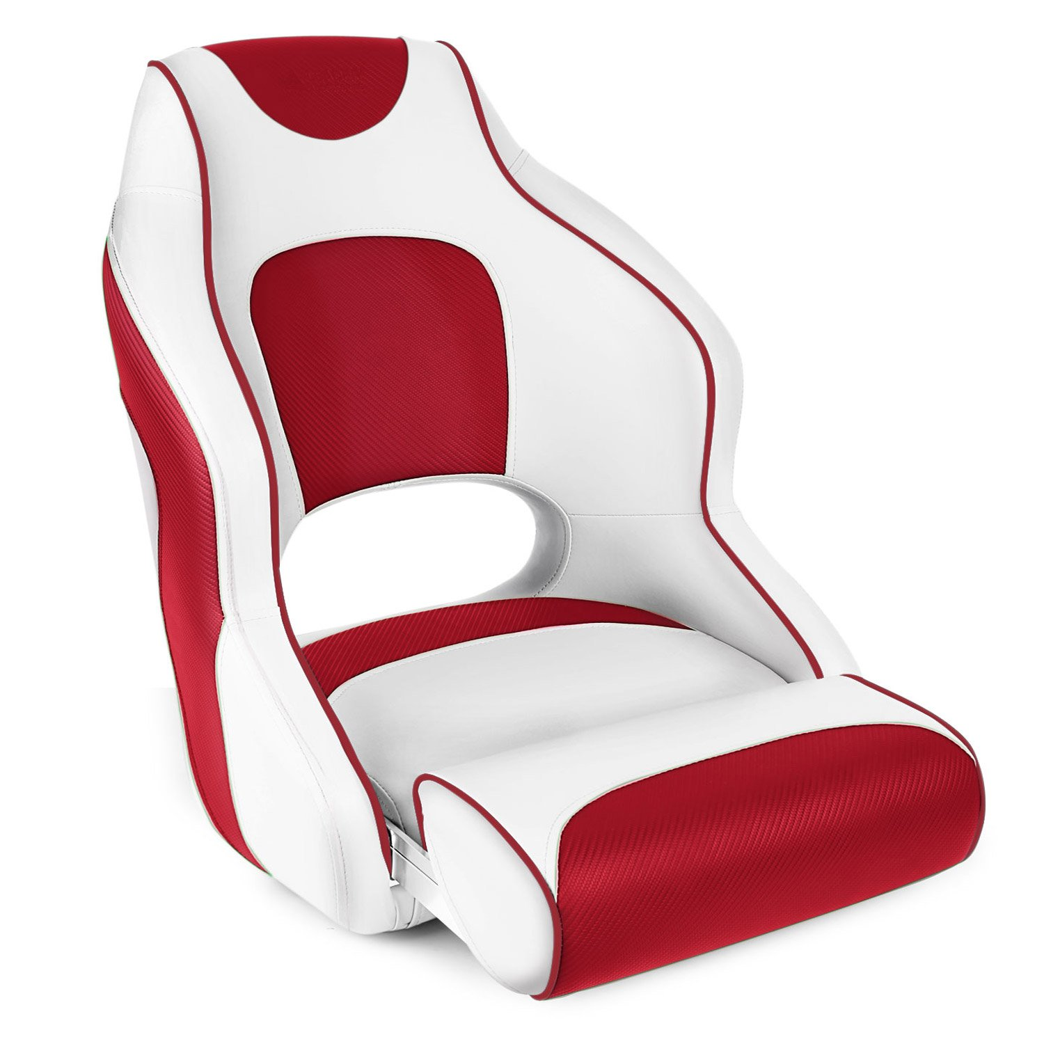 Leader Accessories Two Tone Captain's Bucket Seat Boat Seat Premium Sports Flip Up Boat Seat(White/Red,Red Piping)