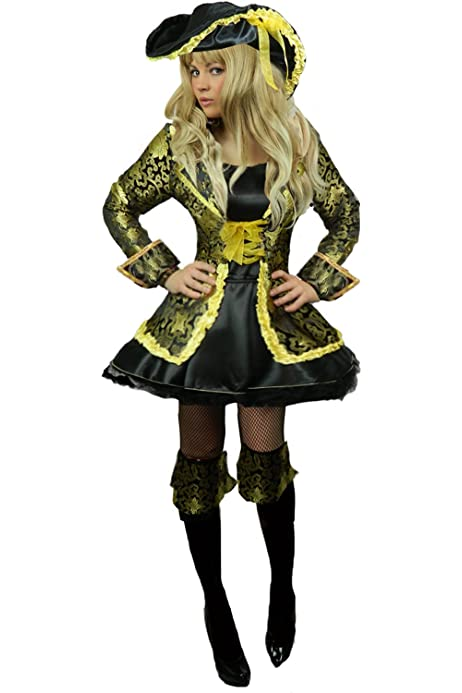 Yummy Bee Pirate Captain Fancy Dress Costume Caribbean Women Buccaneer SWORD