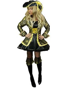 Yummy Bee Disfraz Pirata Capitán Seductor Fiesta de Disfraces Mujer Lujo  Caribe Sombrero Tricorne Espada Sable Talla Grande 34 - 46 (Mujer  36)   Amazon.es  ... 81423f62b81
