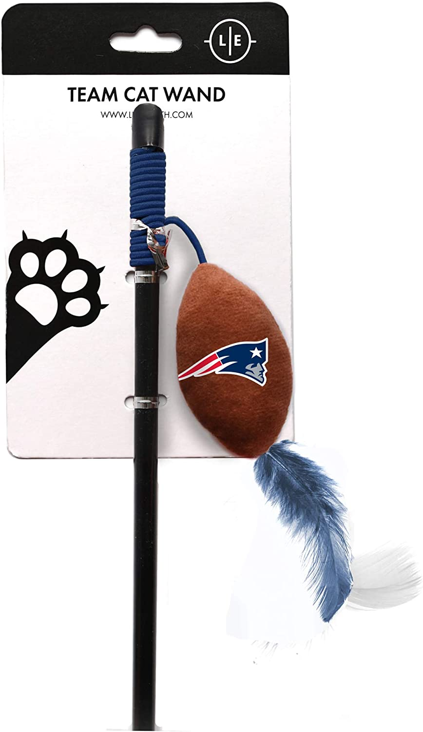 Littlearth NFL New England Patriots Cat Wand | Cat Toy | Interactive Cat Toy | Cat Teaser, Black, Wand: 18.25