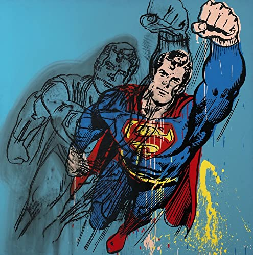 Berkin Arts Andy Warhol Giclee Print On Canvas-Famous Paintings Fine Art Poster-Reproduction Wall Decor Superman Large Size 31.4 x 31.4inche