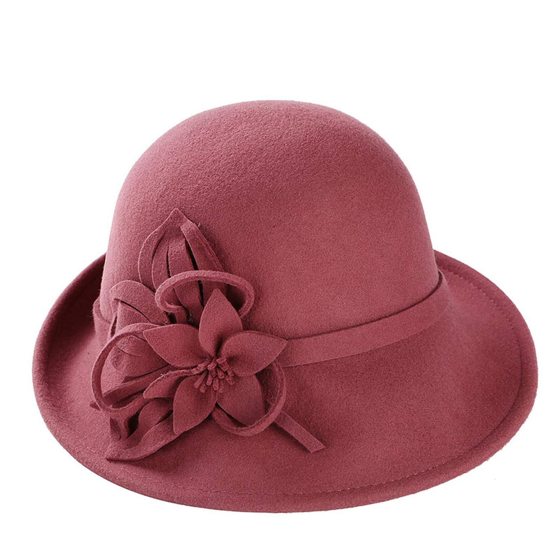 DOSOMI Women Wool Fedoras Hat Fashion Bowknot Cap Vintage Elegant Women Girls Soft Cap