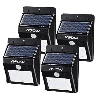 Focos Solares 8 LEDs de Pared, Mpow Faro Solar con Sensor de Movimiento, Lámparas Solares al Aire Libre para Jardín Patio Camino de Entrada Escaleras y Iluminación Exterior 4 Unidades