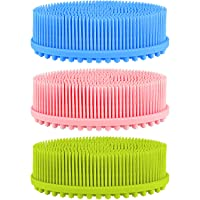 3 Pieces Exfoliating Silicone Body Scrubber Body Silicone Scrubber Brush Silicone...