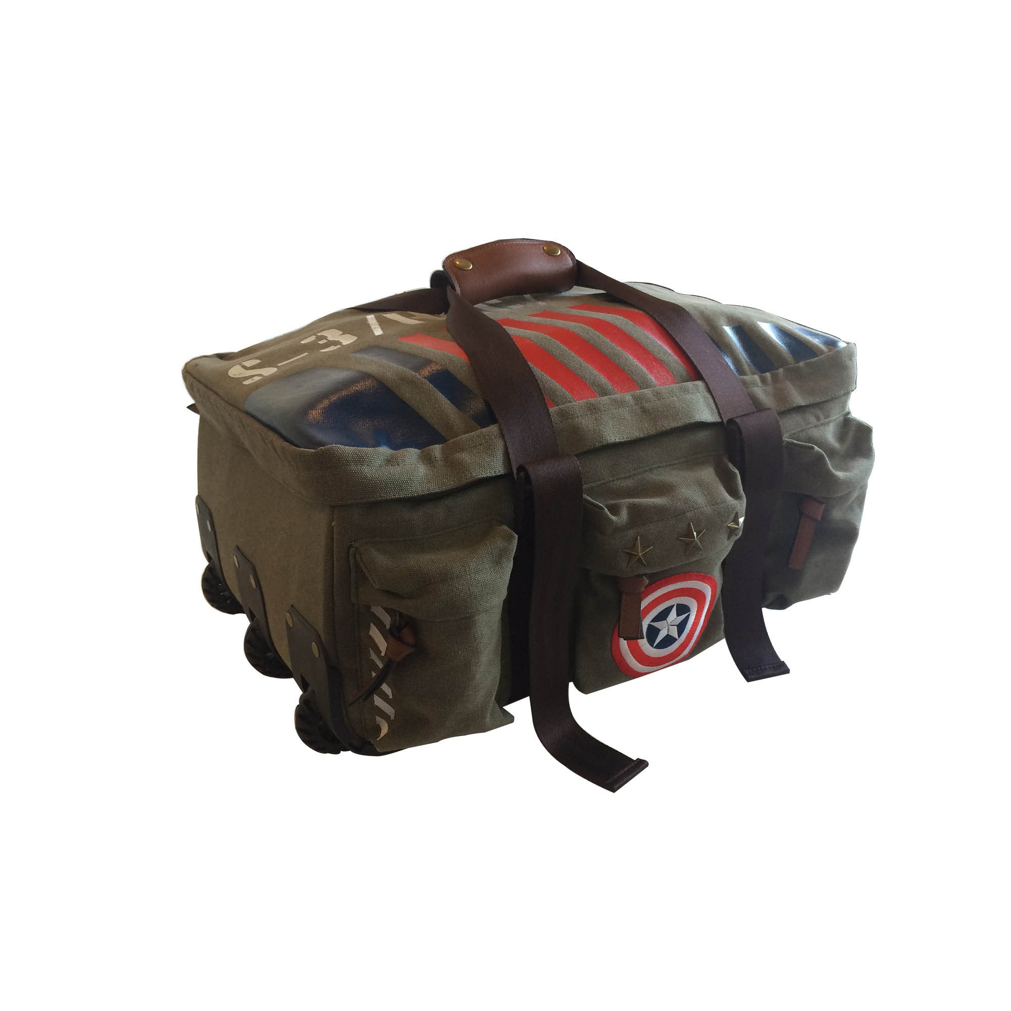 19-Inch Boys Captain America Military Rolling Spinner Duffel Bag, Stylish Marvel Superheroes Print Duffle, Oversized Travel Luggage with Wheels, Vintage-Style Lightweight, Fashionable, Green Red Blue