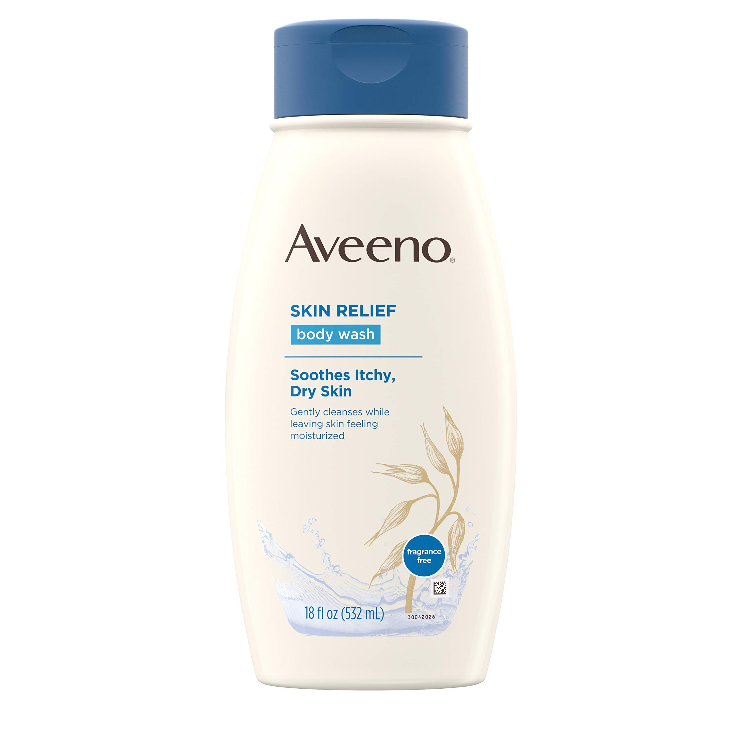 Aveeno Skin Relief Fragrance-Free Moisturizing Body Wash with Oat to Soothe Itchy, Dry Skin, Gentle & Unscented Daily Cream Body Cleanser, Soap-Free & Dye-Free for Sensitive Skin, 18 fl. Oz