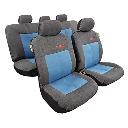 f0fd02371bcd Two Tone Washed Denim Dark Charcoal Blue Sports Embroidery Car Seat Cover  Full Set