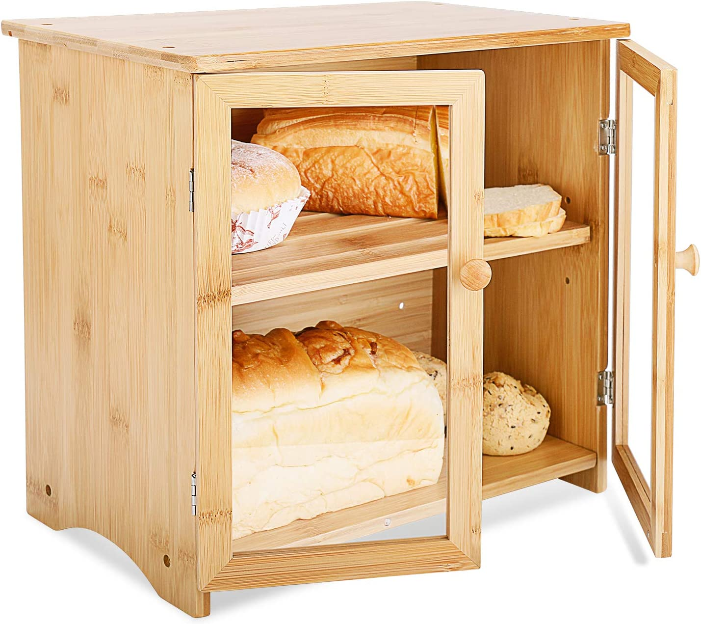 espacio de almacenamiento ajustable para cocina Leader Accessories Caja de pan de bamb/ú de 2 capas con tapa para tabla de cortar Caja de pan de madera de bamb/ú con doble puerta naturaleza